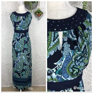 Catherines Paisley Print Embellished Maxi Dress